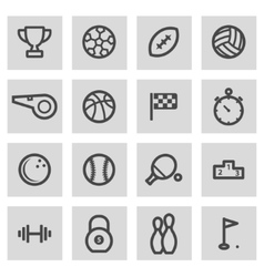 Line sport icons set vector