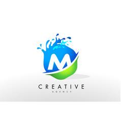 M letter logo blue green splash design vector