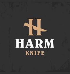 modern professional logo h harm knife in gold vector image