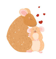 mothers day mom and barat and little rat mouse vector image
