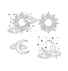 mystical boho tattoos with sun crescent stars vector image