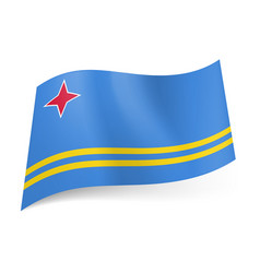 National flag of aruba four-pointed red star in vector