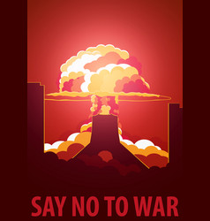 Nuclear explosion in the city iran say no to war vector
