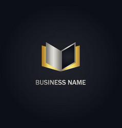 Open book gold logo vector