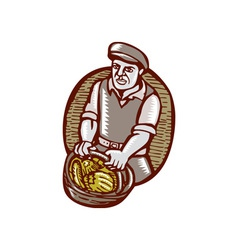 Organic Farmer Harvest Basket Woodcut Linocut vector