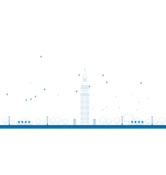 Outline big ben tower in london vector