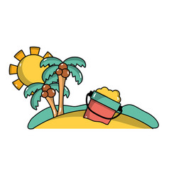 Palms with bottle sand in beach on vacation vector