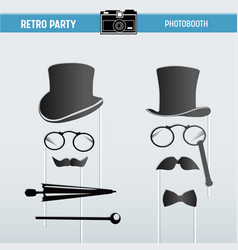 party glasses hats masks for photobooth props vector image