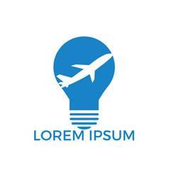 plane bulb logo design vector image
