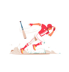 professional baseball player running after ball vector image