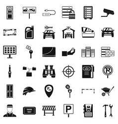 protection icons set simple style vector image