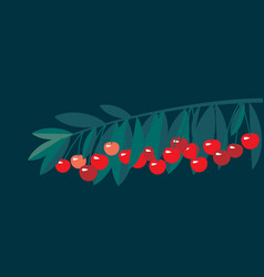 rape cherry fruit simple flat design element vector image