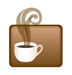 rectangular frame with hot cup of coffee vector image