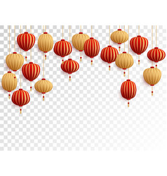 red and gold chinese lanterns on transparent vector image