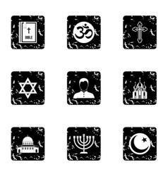 Religion icons set grunge style vector image