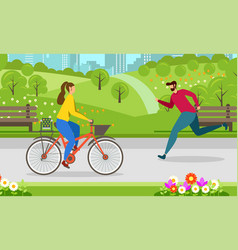 Running cycling healthy lifestyle motivate banner vector