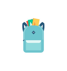 school backpack with notebooks and front pocket vector image