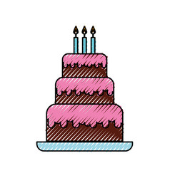 scribble cute birthday cake cartoon vector image