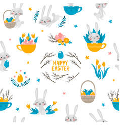 seamless pattern with rabbits flowers and vector image