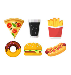 set colorful fast food icons for web sites and vector image