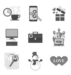 Set of icons and symbols in trendy flat style vector