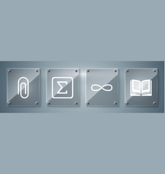 Set open book infinity sigma symbol and paper vector