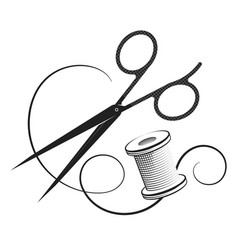 Sewing and cutting design vector