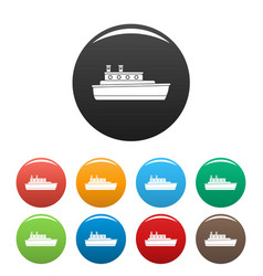 ship travel icons set color vector image