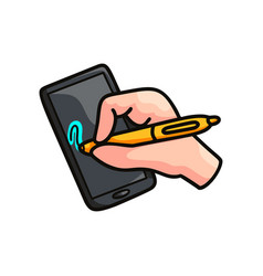 Smart device or tablet with hand pen security vector