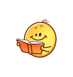 Smiley face reading book - cute smiling yellow vector