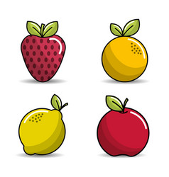 strawberry orange lemon and apple icon vector image