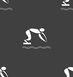 Summer sports diving icon sign Seamless pattern on vector image