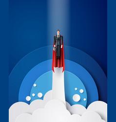 super businessman flying on sky vector image