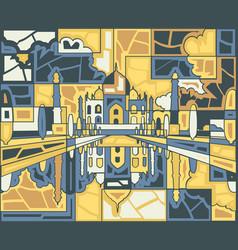 Taj mahal mosaic vector