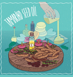 Tamarind seed oil used for soap making vector