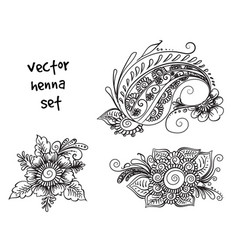 tattoo henna element set vector image