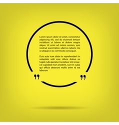 Text quote bubble in a circle yellow background vector
