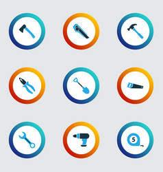tools colorful icons set collection of meter axe vector image