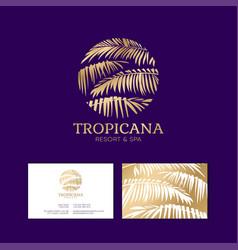 Tropical logo resort and spa emblem vector