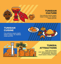 Tunisian cuisine and attractions travel agency vector