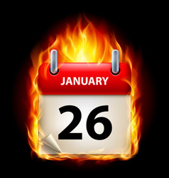 Twenty-sixth january in calendar burning icon on vector