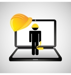 under construction web page worker paint roller vector image