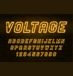 Voltage neon light alphabet realistic extra vector
