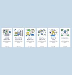 Web site linear art onboarding screens vector