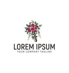 wedding flowers logo design concept template vector image