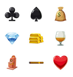 win in the casino icons set cartoon style vector image
