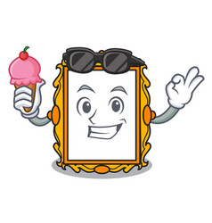 with ice cream picture frame character cartoon vector image