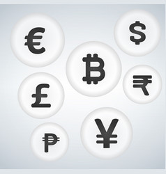 World currency sign bubble button icon design set vector