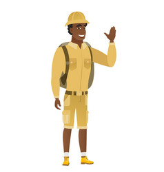 Young african-american traveler waving his hand vector