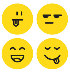 yummy emoticon with happy smile and tongue vector image